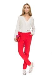 Czerwone klasyczne spodnie w kant na gumie