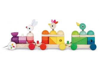 Zwierzątka drewniany pociąg z klockami do ciągnięcia