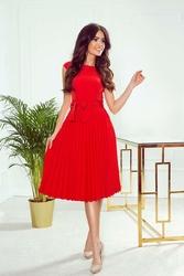 Czerwona koktajlowa sukienka z plisowanym dołem