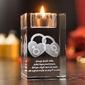 Dwa serca 3d ♥ personalizowany kryształ 3d świecznik • grawer 3d