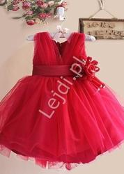 Czerwona sukienka dla dziewczynki z kwiatkiem w pasie  na wesele, urodziny czy święta