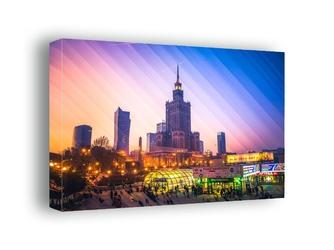 Kolorowa warszawa pałac kultury i nauki - obraz na płótnie wymiar do wyboru: 90x60 cm