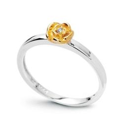 Staviori pierścionek. 1 diament, szlif brylantowy, masa 0,01 ct., barwa h, czystość i1. białe złoto 0,585.  pokryte żółtym złotem średnica korony ok. 5 mm. szerokość obrączki ok. 2 mm.