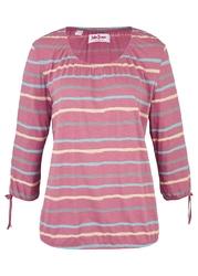 Tunika shirtowa z bawełny z nadrukiem, rękawy 34 bonprix jeżynowy w paski