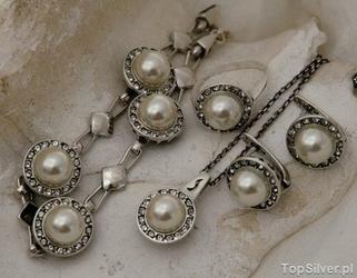 Adria - srebrny komplet perły i kryształy