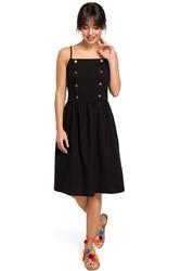Czarna sukienka na ramiączkach ozdobiona guzikami