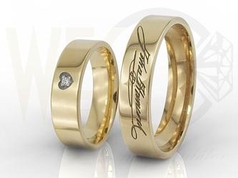 Obrączki ślubne z waszymi odręcznymi podpisami, w damskiej cyrkonia swarovski oprawiona w serce ob-03z-r-c