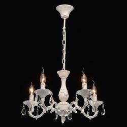 Biały, matowy żyrandol zdobiony złotymi zabarwieniami mw-light classic 371012605