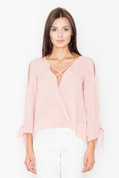 Różowa bluzka z rozcięciami na rękawach