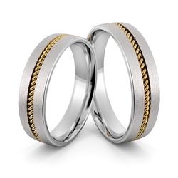 Obrączki ślubne z białego złota palladowego z warkoczem - au-1005
