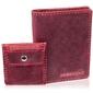 Skórzany zestaw portfel i bilonówka brodrene sw01 + cw02 czerwony - czerwony
