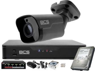 Monitoring zestaw do domu, gebinetu bcs point rejestrator ip + 1x kamera fullhd + akcesoria