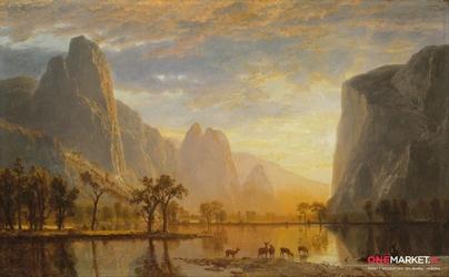 dolina yosemite -  albert bierstadt ; obraz - reprodukcja
