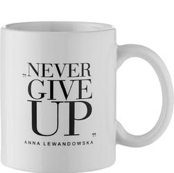Kubek z uchem Never Give Up HPBA biały KB002