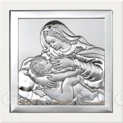Obrazek BC64292W Matka Boska Karmiąca na białym drewienku 8 x 8 cm