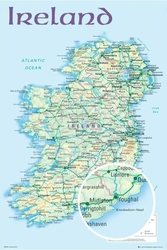 Mapa Irlandii - plakat