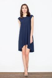 Granatowa romantyczna sukienka z wydłużonym tyłem