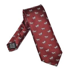 Bordowy jedwabny krawat w konie