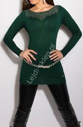 Dzianinowa tunika damska, srebrne jety, butelkowa zieleń| sweterkowe zielone tuniki, 8001