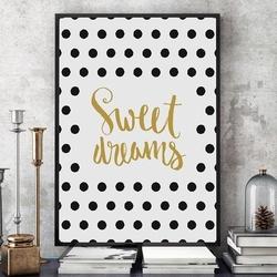 Sweet dreams - plakat designerski , wymiary - 30cm x 40cm, kolor ramki - biały