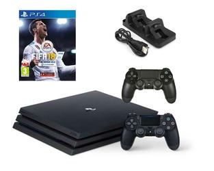 KONSOLA SONY PS4 PRO 1TB + 2 PADY + FIFA 18 + ŁADOWARKA