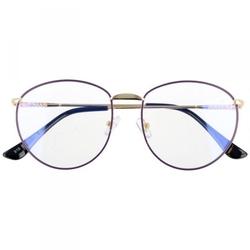 Owalne metalowe okulary damskie złote z antyrefleksem 2526-2