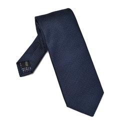 Granatowy jedwabny krawat ze strukturą DŁUGI