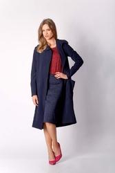 Granatowy płaszcz z dużymi kieszeniami