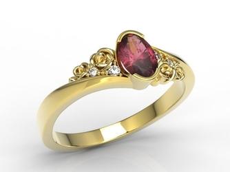 Pierścionek z żółtego złota ap-39z z rubinem i diamentami 0,03 ct - żółte  rubin