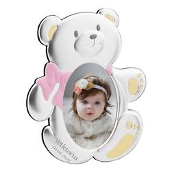 Ramka na zdjęcia miś z różową kokardą na roczek z grawerem - dla dziewczynki