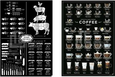 Plakaty 38 ways to make a perfect coffee i kitchen first aid kit 2 szt