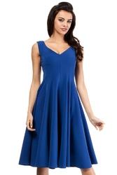 Niebieska koktajlowa sukienka z rozkloszowanym dołem