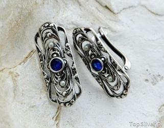 Vivian - srebrne kolczyki z szafirem i perłami