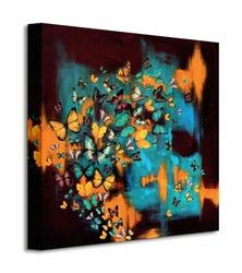 Butterflies On Turquoise - Obraz na płótnie