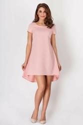 Różowa sukienka asymetryczna trapezowa