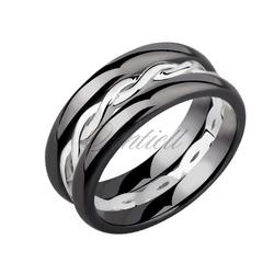 Dwa czarne pierścionki ceramiczne i pierścionek srebrny - czarny