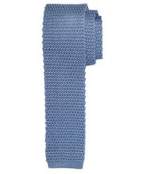 Błękitny jedwabny krawat z dzianiny knit