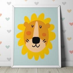 Lew - plakat dla dzieci , wymiary - 20cm x 30cm, kolor ramki - biały