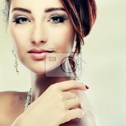 Obraz portret dziewczyna jest w stylu mody. dekoracja ślubna
