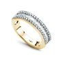 Staviori pierścionek. 42 diamenty, szlif brylantowy, masa 0,26 ct., barwa h-j, czystość si2-i1. 25 diamentów, szlif bagieta, masa 0,25 ct., barwa h-j, czystość si1-si2. żółte złoto 0,585. szerokość obrączki ok. 2,0-4,3 mm. wysokość 2,80 mm.