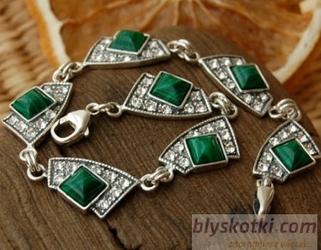 Flos - srebrna bransoletka z malachitem i kryształkami