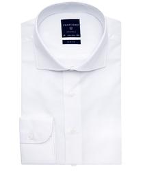 Elegancka biała koszula męska taliowana, SLIM FIT o splocie typu Panama 42