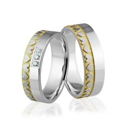 Obrączki srebrne pozłacane z kamieniami i sercami - wzór ag-293