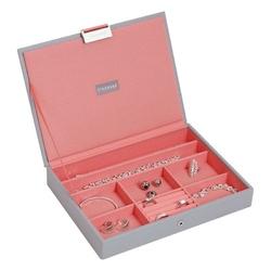 Pudełko na biżuterię z pokrywką classic Stackers szaro-koralowe