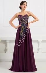 Fioletowa szyfonowa suknia z pawimi piórkami   kreacje wieczorowe na studniówkę, sylwestra, karnawał