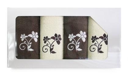 Komplet 4 ręczników greno viva krem brąz wzór 3 - 3  brązowy || kremowy