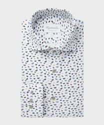 Stylowa biała koszula michaelis kolorowe motyle 45