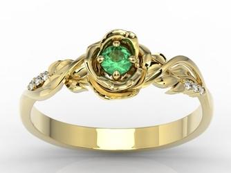 Pierścionek z żółtego złota w kształcie róży z szafirem i diamentami lp-7715z - żółte  szmaragd