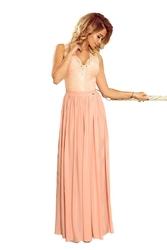 Pudrowa wieczorowa sukienka maxi z koronkową górą bez rękawów