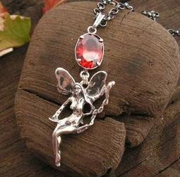 Elfica - srebrny wisiorek z granatem